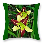 Burgundy And Yellow Lilies 2 Throw Pillow
