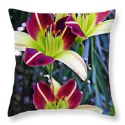 Burgundy And Yellow Lilies 3 Throw Pillow