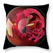 Burgundy Orchids In A Glass Globe Throw Pillow