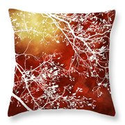 Burgundy Tree Abstract Throw Pillow