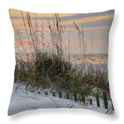 Buried Fence And Sea Oats Sunrise Throw Pillow