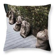 Burlap And Brick Throw Pillow