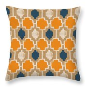 Burlap Blue And Orange Design Throw Pillow
