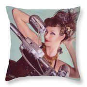 Burlesque Biker -portrait Throw Pillow