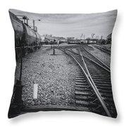 Burlington Vermont Train Yard Vintage Grunge Black And White Throw Pillow