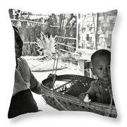 Burmese Grandmother And Grandchild Throw Pillow
