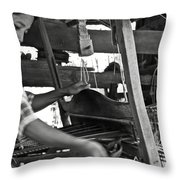 Burmese Woman Working With A Handloom Weaving. Throw Pillow by RicardMN Photography