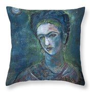 Burn It Blue Frida Throw Pillow