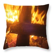 Burning Cross Throw Pillow