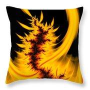 Burning Fractal Fire Warm Orange Flames Black Background Throw Pillow