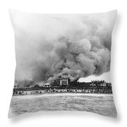 Burning Of The Breakers Hotel Throw Pillow