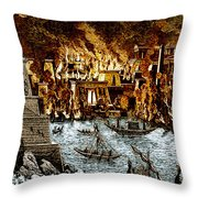 Burning Of The Royal Library Throw Pillow