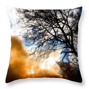 Burning Olive Tree Cuttings Throw Pillow
