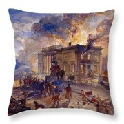 Burning Temple Of The Winds, 1856 Throw Pillow