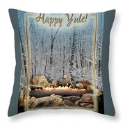 Burning Yule Log Throw Pillow