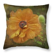 Burnished Poppy Throw Pillow