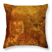 Burnished Tigers Throw Pillow