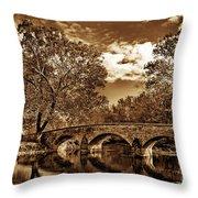Burnside Bridge At Antietam - Toned Throw Pillow
