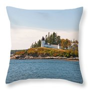 Burnt Island Lighthouse Throw Pillow