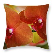 Burnt Orange Orchids Throw Pillow
