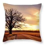 Burr Oak Silhouette Throw Pillow