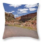 Burr Trail Road Through Long Canyon Throw Pillow