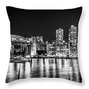 Burrard Bridge At Night Throw Pillow