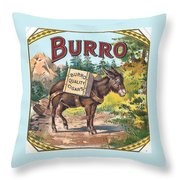 Burro Quality Of Cigars Label Throw Pillow