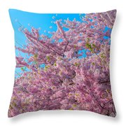 Bursting With Blossoms With A Hint Of Green Throw Pillow
