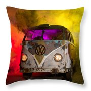 Bus In A Cloud Of Multi-color Smoke Throw Pillow