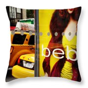 Bus Poster With Taxis - New York Throw Pillow