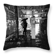 Bus Stop In The Rain Throw Pillow