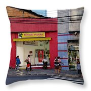 Bus Stop On Rua Teodoro Sampaio Throw Pillow