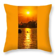 Bushfire Sunset Over The Lake Throw Pillow