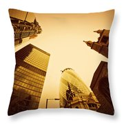 Business Architecture Skyscrapers In London Uk Golden Tint Throw Pillow