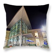 Business Building At Night Throw Pillow