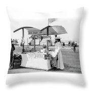 Business Venture Of 7-year Old - Helen Rohne At Huntington Beach Tent City Throw Pillow