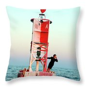 Business Woman On A Buoy Throw Pillow