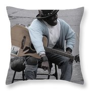 Busker With Style Throw Pillow