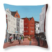 Busking On Grafton Street Throw Pillow