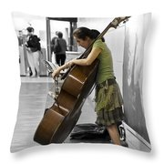 Busking Parisian Cellist Throw Pillow