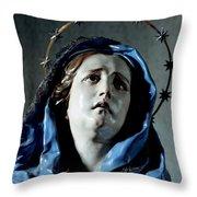 Bust Of Painful Virgin Throw Pillow
