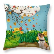 Buster And The Tree Throw Pillow