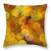 Busy Bee In The Marigolds Throw Pillow