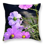 Busy Bees Throw Pillow by Susan Leggett