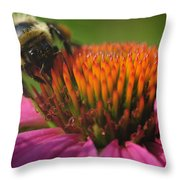 Busy Bumble Bee Throw Pillow by Luke Moore