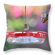 Busy Day At The Feeder Throw Pillow