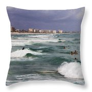 Busy Day In The Surf Throw Pillow
