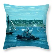 Busy Halifax Harbor During The Parade Of Sails Throw Pillow