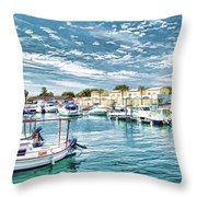 Busy Marina Throw Pillow